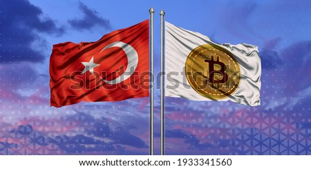 The flag of Turkey and Bitcoin, flying over the blue sky