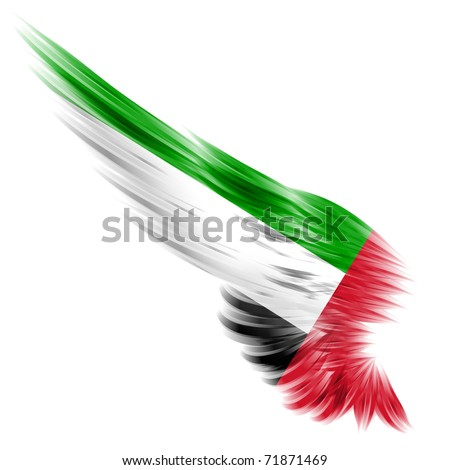 The flag of United Arab Emirates on Abstract wing and white background