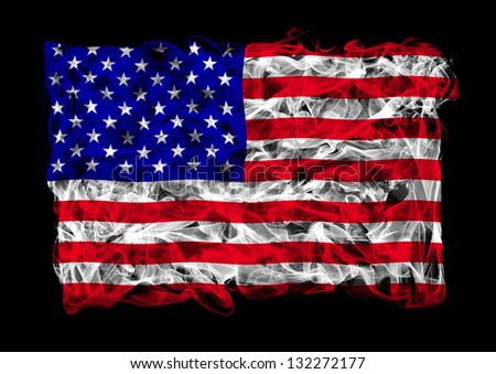 The flag of United States consists of a smoke