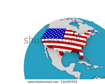 The flag of United States on the globe, 3D