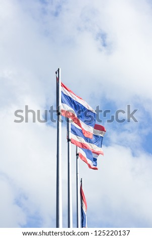 The flag  Thailand nation , background sky and clouds.