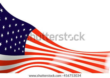 The Flag  USA on  White Background #456753034