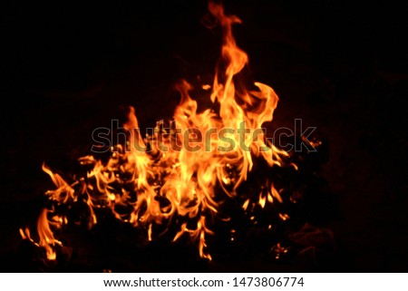The flames of flaming flames swept through various shapes like hot, energy on a black background. #1473806774