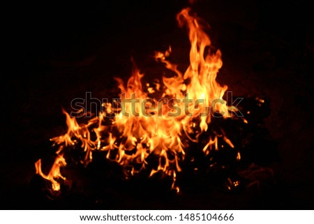 The flames of flaming flames swept through various shapes like hot, energy on a black background. #1485104666