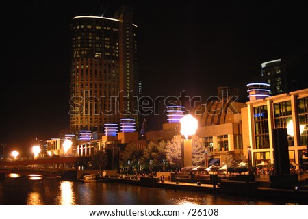 The flames of melbourne's crown casino in Southbank