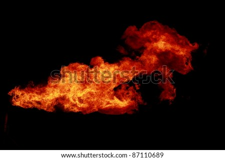 The flames on a black background