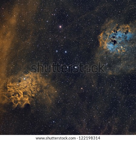 The Flaming Star and Tadpole Nebulae in the Hubble Palette
