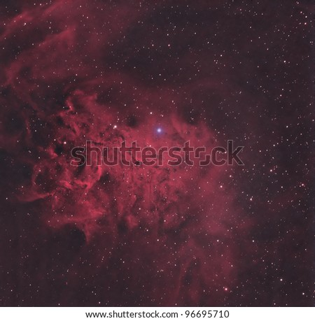 The Flaming Star Nebula is an emission/reflection nebula about 1500 light years from Earth