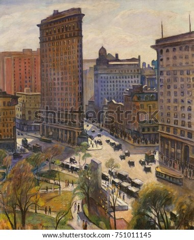 THE FLATIRON BUILDING, by Samuel Halpert, 1919, American painting, oil on canvas. Painting of New York's Flatiron building and Madison Square Park, is representative the artists stylized but still nat Photo stock ©