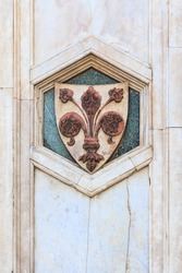 The fleur de lis of Florence, local symbol of Florence, Italy