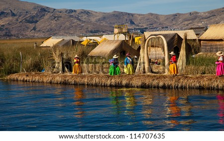 The floating and tourist  Islands of lake Titicaca Puno Peru South America