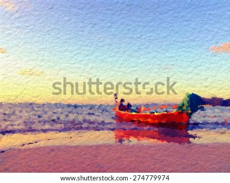 The floating boat with the sea background in oil painting style