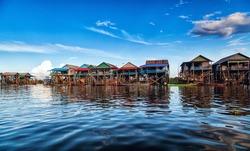 The floating village on the water (komprongpok) of Tonle Sap lake. Cambodia.