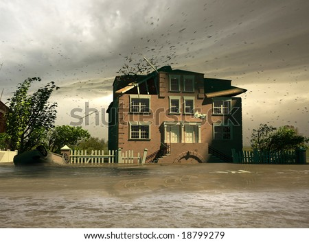 the flooding house (3D render)