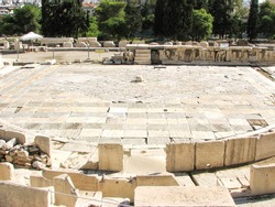 The floor of the Theatre and Sanctuary of Dionysus, on the south slope of the Acropolis hill. It was originally part of the sanctuary of Dionysus Eleuthereus.