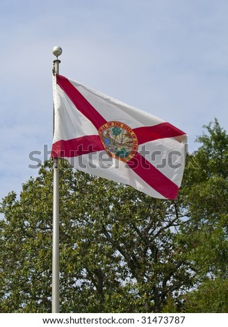 The Florida State Flag waving in the wind