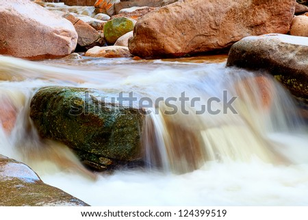 The flow of water in a mountain stream - stock photo