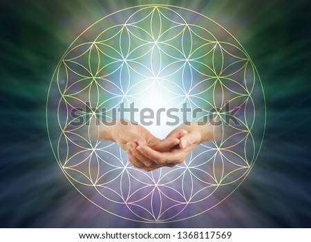 The Flower of Life Blessing - Female cupped hands with energy orb inside   flower of life symbol pattern against a light to dark radiating  background with copy space above
