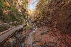 The flume gorge in New Hampshire during autumn