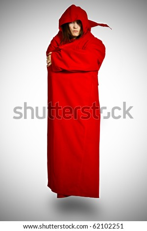 The flying girl in a red raincoat