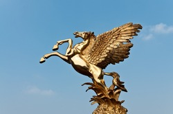 The flying horse in the blue sky