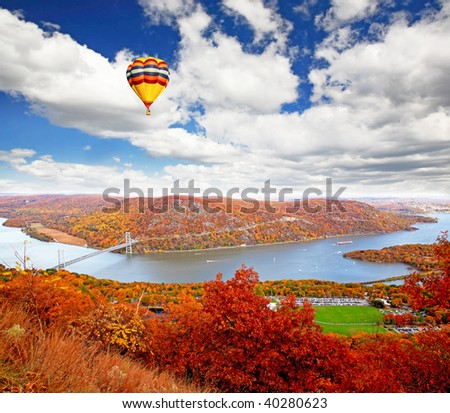 The foliage scenery at Hudson River region in New York State