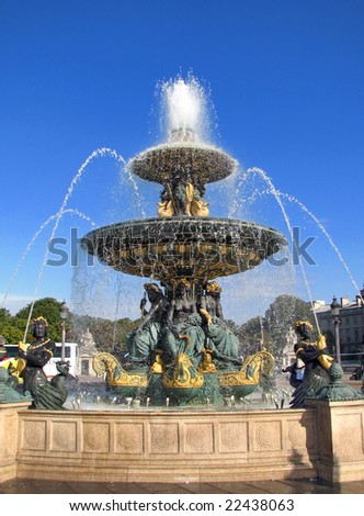 The Fontaine des Fleuves in Concorde Square - Paris. The Fountain of River, located in the Place de la Concorde in the center of Paris, commemorates navigation and commerce on the rivers of France. - stock photo