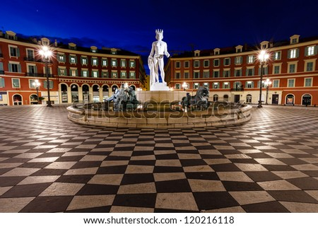 The Fontaine du Soleil on Place Massena in the Morning, Nice, French Riviera, France