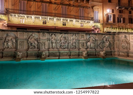 The Fonte Gaia (fountain of joy) at night, monument in Piazza del Campo (Campo square). Siena, Toscana (Tuscany), Italy, Europe #1254997822