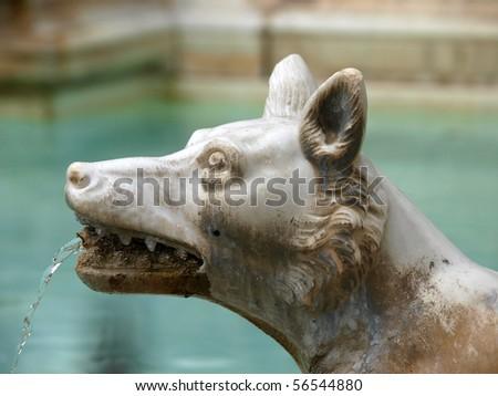 the Fonte Gaia (Fountain of Joy), Piazza del Campo, Siena. - stock photo
