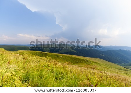 The foothills of the Caucasus mountain range, the road to Dombay (Russia)