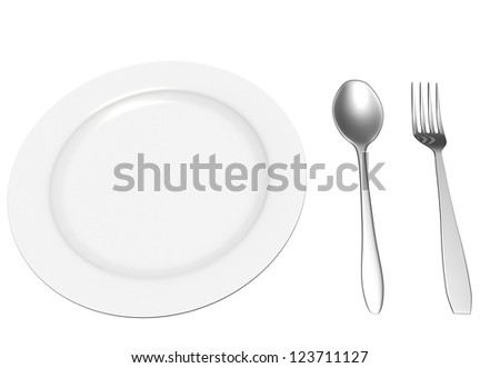 The fork and spoon lie near a plate on the white isolated background