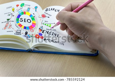 the form of text, paper sheet with hand holding a pink pencil,SEO concept,SEO Search Engine Optimization with Icon Set. #785592124