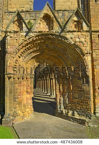 The former church and Jedburgh Abbey, King David I. founded the Abbey in 1138. Its position, so close to the border with Northumbria. Roxburghshire, Scotland, United Kingdom. Zdjęcia stock ©