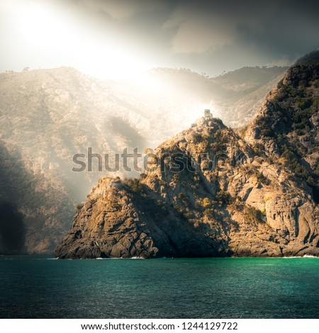 The fort that guards the secluded Abbey of San Fruttuoso, in Liguria, Italy. ストックフォト ©