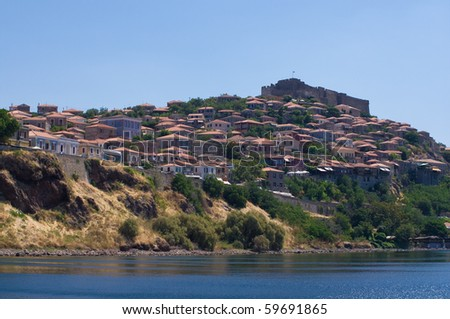 the fortified town of Molyvos, Lesvos, Greece.