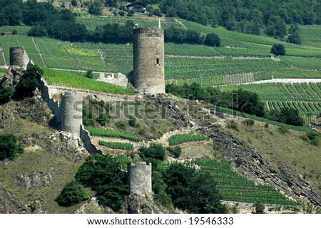 The fortified village of Saillon in the Swiss Alps surroundsed by vineyards