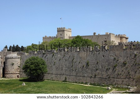 the fortress and the palace of the knights in Rhodes town, Greece