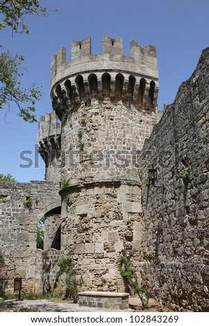 the fortress of the old town of Rhodes, Greece