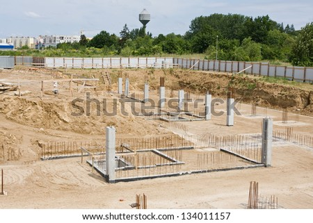 The foundations of the building site