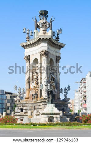 The fountain at the centre of the Placa d'Espanya. Barcelona, Spain.