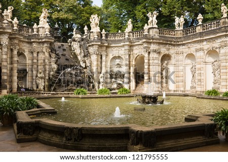 """The fountain """"Bath of nymphs"""" in Zwinger. The Zwinger is a palace in Dresden, eastern Germany"""