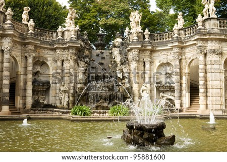 """The fountain """"Bath of nymphs"""" in Zwinger. The Zwinger is a palace in Dresden, eastern Germany."""