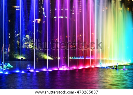 The fountain,Colorful water fountain