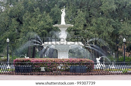 The fountain in Forsythe Park, Savannah, Georgia