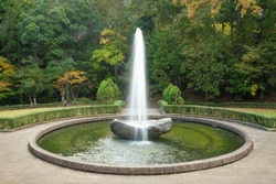 The fountain in japanese garden.
