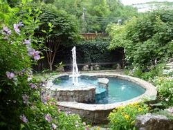 The fountain in the garden of the mountain village
