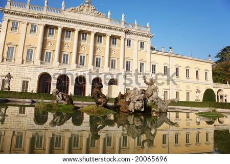 The fountain of a neoclassical italian villa, Como, Italy.