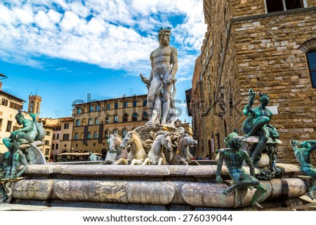 The Fountain of Neptune in a summer day  in Florence, Italy