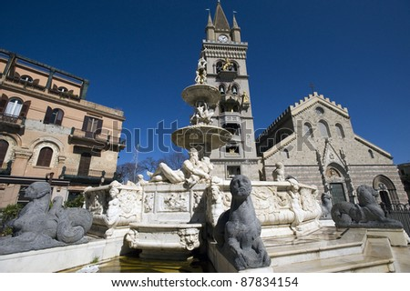 The fountain of Orione in Messina and the dome